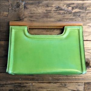 Handbags - Vintage Green Leather Clutch